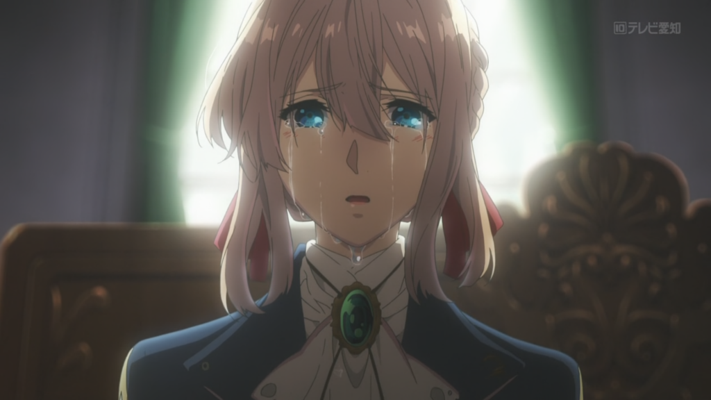Violet Evergarden Anime Main Character with Tears